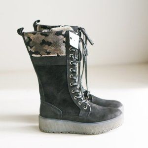 Bos & Co. Suede Mid Calf Wool Lined Lace up Winter Boots